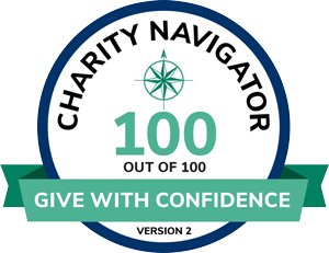 Rated 100 out of 100 at Charity Navigator